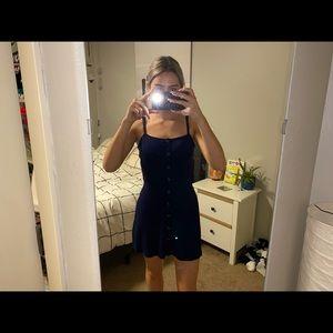 Topshop navy blue button dress